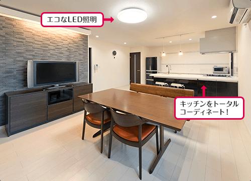 エコなLED照明 キッチンをトータルコーディネート!