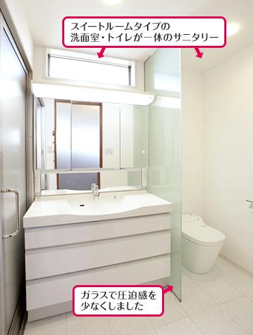 スイートルームタイプの洗面室・トイレが一体のサニタリー ガラスで圧迫感を少なくしました