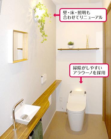 壁・床・照明も合わせてリニューアル 掃除がしやすいアラウーノを採用